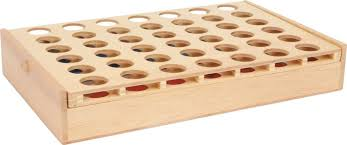 4 in a row made of wood connect four wooden pieces to win the