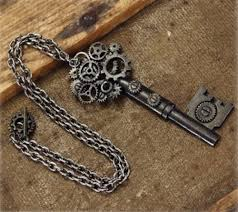 antique key necklace images Key gear necklace large steampunk costume chain gears victorian jpg