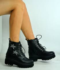 women s lace up biker boots new womens ladies lace up ankle biker boots chunky heels shoes