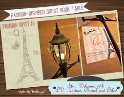 sweet 16 guest book sweet 16 parisian themed guest book table inspired by fashion