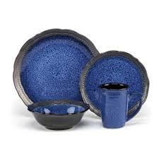 16 stoneware dinnerware blue walmart