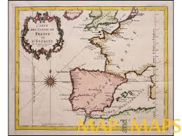 France Spain Map by Map Of France And Spain Old Engraving With Compass Rose By Bellin 1746