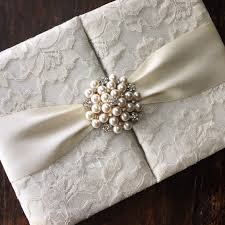 wedding invitations pocket handmade ivory pearl brooch embellished lace wedding invitation