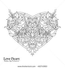 decorative love heart baroque royal style stock vector 492743083