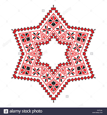 ethnic ornament mandala geometric patterns in red and black colors