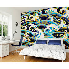 japanese waves wall mural wals0237 the home depot