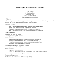 Contract Specialist Resume Sample by Inventory Specialist Resume Sample Free Resume Example And