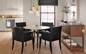 benson dining table with marie leather chairs modern dining room