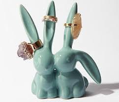 ceramic animal ring holder images Jewelry ring holder inside single row tray sponge packaging jpg