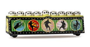 sports menorah soccer menorah for collectors in a vintage retro style
