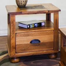 wood end tables with drawers sunny designs sedona end table w drawer and slate top wayside