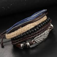 bracelets for 1set multilayer leather bracelet men jewelry rock wood bead