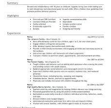 nanny resume exle nanny resume templates medicina bg info