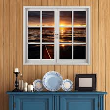 sunset 3d artificial window view pag wall decals lake view room