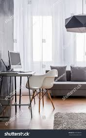 Minimalist Workspace Minimalist Workspace Grey Desk White Designer Stock Photo