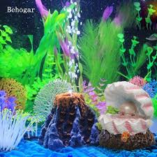 Behogar Pearl Shell Volcano Coral Shape Toys Aquarium Decoration