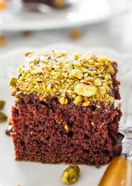salted texas chocolate sheet cake with pistachios jo cooks