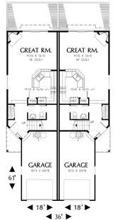duplex narrow lot floor plans plan 69243am t shaped staircase in cottage duplex staircases