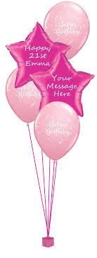 birthday balloon arrangements pink personalised birthday balloon bouquet party fever