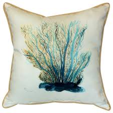 betsy drake coral indoor outdoor pillow blue beach style
