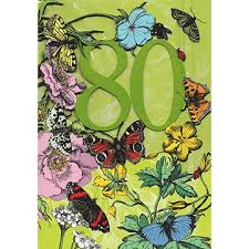 80th laser cut butterflies and flowers birthday card gc1855