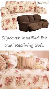 reclining sofa slipcover ivory heavy suede adapted for dual