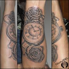 roses clock tattoo by blazeovsky on deviantart