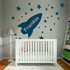 wall designer wall art stickers space rocket with stars boys bedroom custom name wall sticker