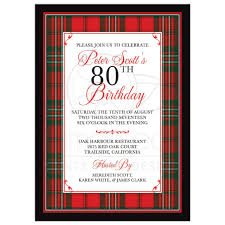 80th Birthday Invitation Cards Scottish Clan Scott Tartan 80th Birthday Invitation