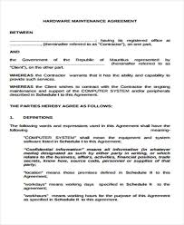 100 maintenance contract template service level agreement