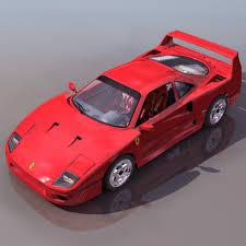 model f40 f40 sports car 3d model 3ds files free modeling