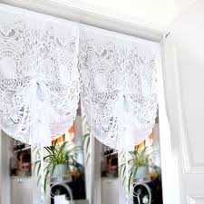 White Lace Valance Curtains Kitchen Short Curtains Roman Blinds Embroidered Valance Partition