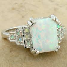 white lab opal antique art deco style 925 sterling silver ring sz