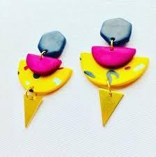 80s earrings colourful geometric earrings handmade unique hexagon statement