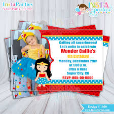wonder woman invitations party with picture invitation birthday