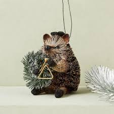 jazzy hedgehog bottle brush ornament west elm uk