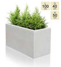 100cm poly terrazzo large white trough planter 169 99