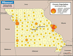 missouri map by population missouri population distribution map by maps from maps