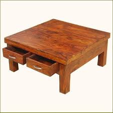 Wood Coffee Tables With Storage Solid Wood Rustic 4 Drawers Square Storage Coffee Table Wood