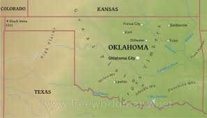 map of oklahoma physical map of oklahoma
