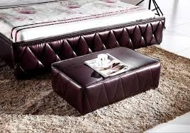 2017 new contemporary modern leather sleeping bed with footstool