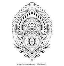 henna tattoo flower template indian style stock vector 629004482