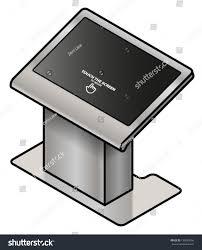 touchscreen information kiosk large screen pedestal stock vector