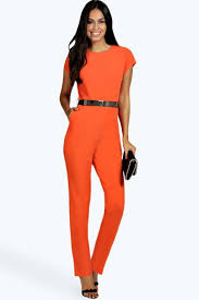 orange jumpsuit boohoo millie woven belted jumpsuit where to buy how to wear