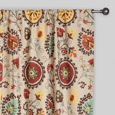 Suzani Curtain Gold And Suzani Cotton Curtains Set Of 2 World Market