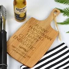 engraved father u0027s day cheese chopping paddle board personalised