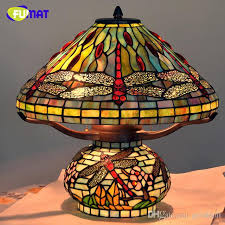 Stained Glass Light Fixtures 2017 Tiffany Table Lamp Antique Art Decor Dragonfly Living Room