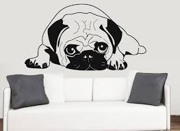 pug silhouette wall art vinyl stickers dog chinese pet stickers pug silhouette wall vinyl stickers dog chinese dutch pet transfer decal mural