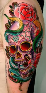 sugar skull design with snake and roses express yourself
