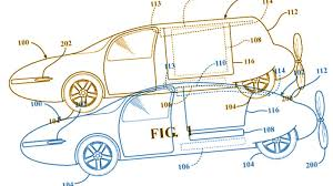toyota has a patent for a rear engined flying car with a
